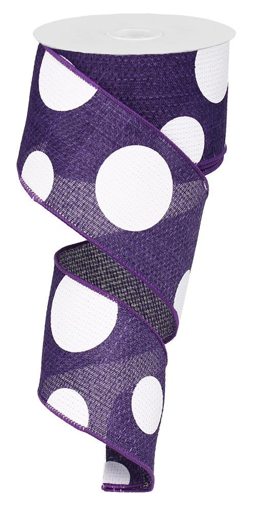 2.5in x 10yd - Purple White-Giant Multi Dots Ribbon