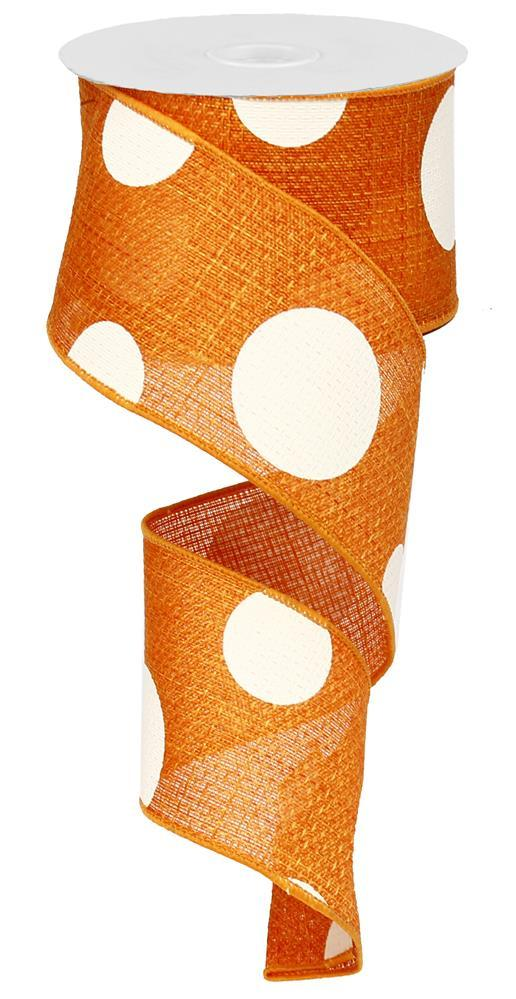 2.5in x 10yd - Orange Giant Multi Dots Ribbon
