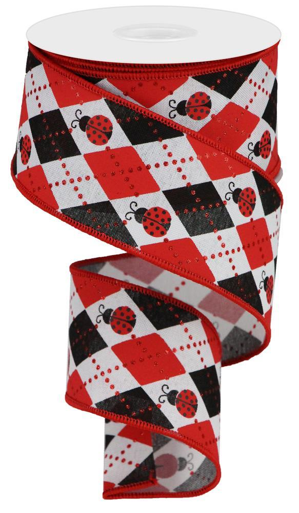"2.5""x10yd Argyle Ladybugs - Red/White/Black"