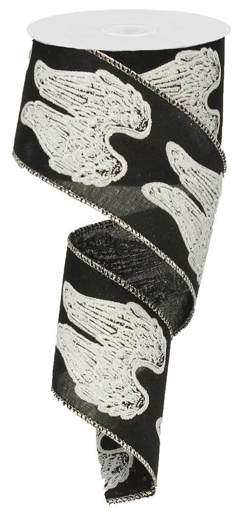 "2.5""x10yd Angel Wings - Black/White/Silver"
