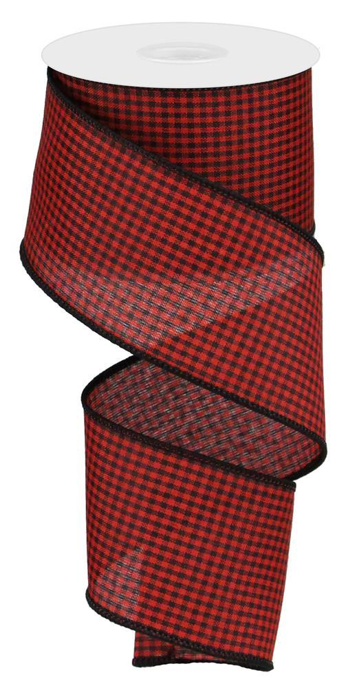 "2.5""x10yd Mini Gingham - Red/Black"