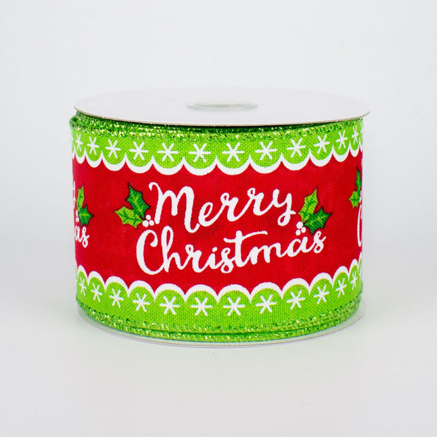 "2.5""x10yd Whimsical Merry Christmas - Red/Lime/White"