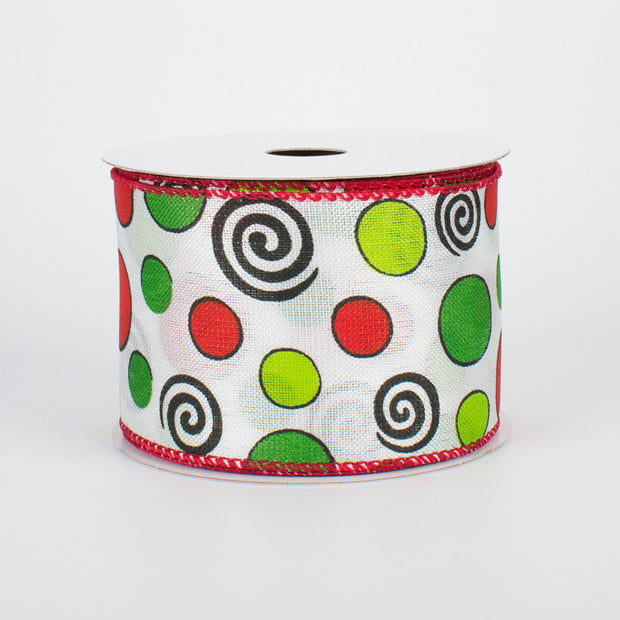 "2.5""x10yd Whimsical Dots & Swirls - Green/White/Red/Black"