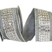 "2.5""x10yd Sequin Center Trim - Silver/Silver"