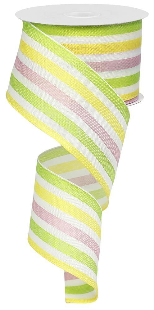 "2.5""x10yd Spring Pastel Stripes - Multi"