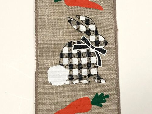 "2.5""x10yd Check Bunny w/Carrots - Black/White/Natural"