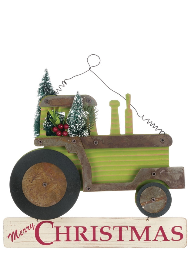 "13.25""L x2.5""W x12""H Merry Christmas Tractor - Green/Black/Red"