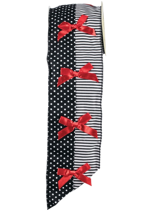 "4"" x 5 yds - Dot Stripe w/Bow (Red-Black-White)"