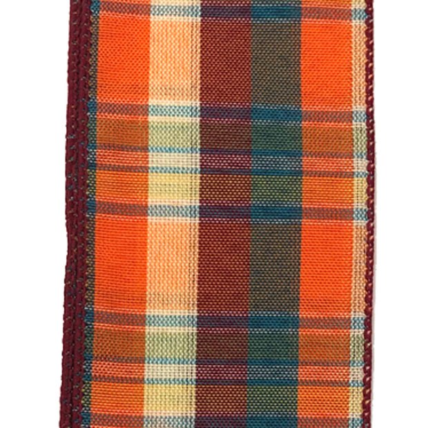 "2.5""x10yd Fall Plaid - Orange/Burgundy/Teal"