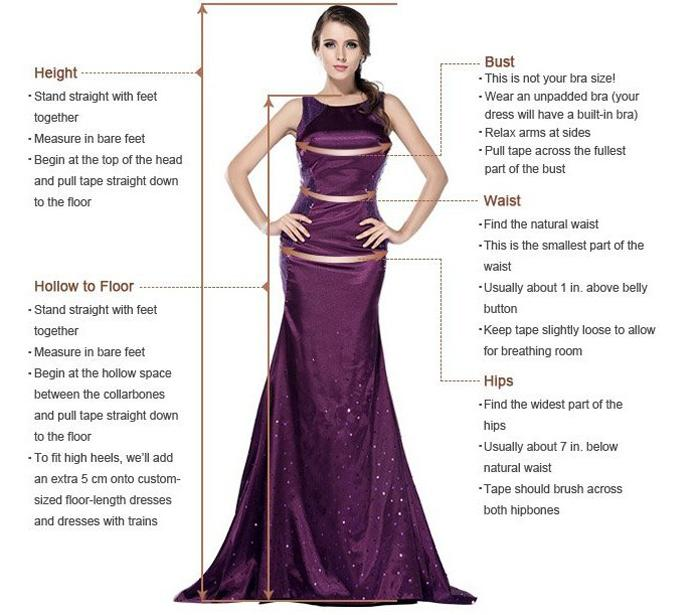 Measurement guide for wedding dresses prom dresses homecoming dresses|www.musebridals.com