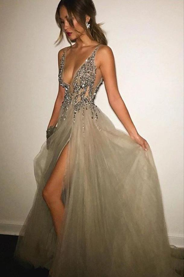 Grey Deep V-neck Backless Split Beaded Prom Dress with Sweep Train, MP248