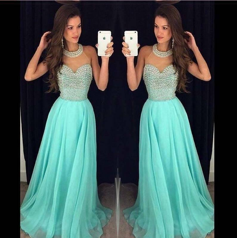 Chiffon Fashion O Neck Long Prom Dresses with Beading, Party Dresses, MP177 at musebridals.com