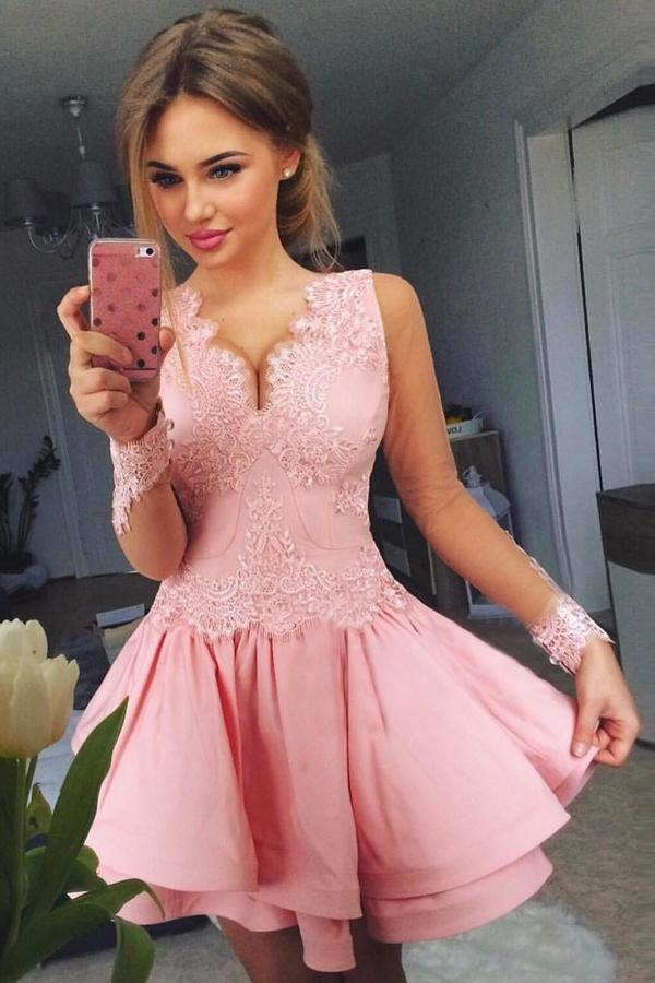 Pink Sheer Long Sleeve V Neck Appliques Homecoming Dresses, Short Prom Dress, MH273