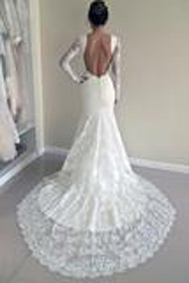 White Lace Mermaid Long Sleeve Backless Wedding Dresses with Sweep Train, MW181