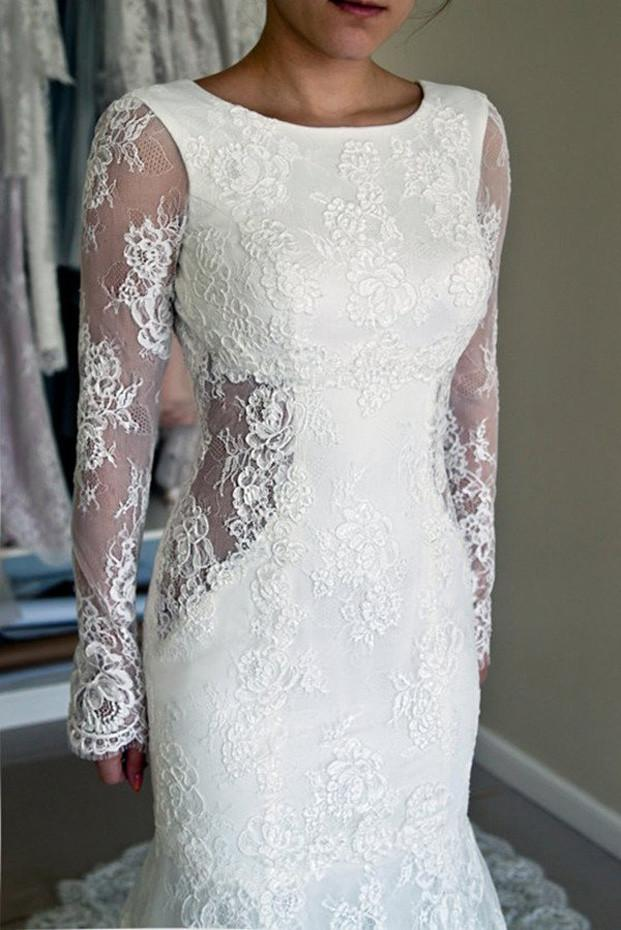 White Lace Mermaid Long Sleeve Backless Wedding Dresses with Sweep Train, MW181|musebridals.com