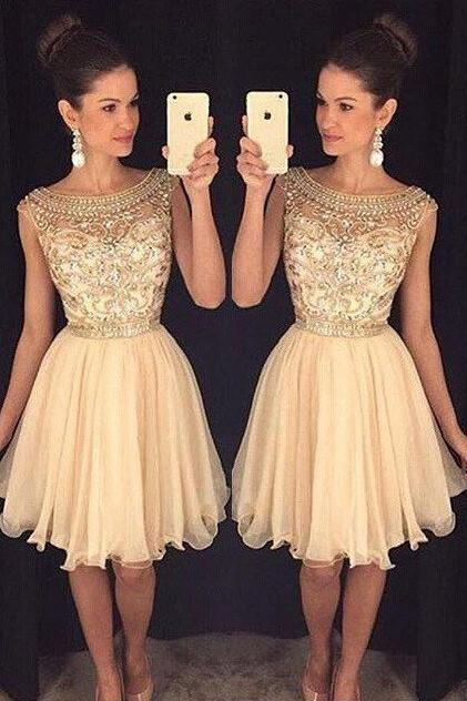 Chiffon A-line Lift Noisette beaded See Through Homecoming Dresses, MH243
