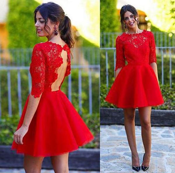 Red Half Sleeves A-line Homecoming Dress Backless Lace Short Prom Dresses, MH298|musebridals.com