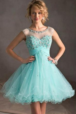 Blue Tiffany Tulle Lace Homecoming Dress, Perfect Short Prom Dresses, MH145