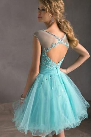 Blue Tiffany Tulle Lace Homecoming Dress, Perfect Short Prom Dresses, MH145 at musebridals.com