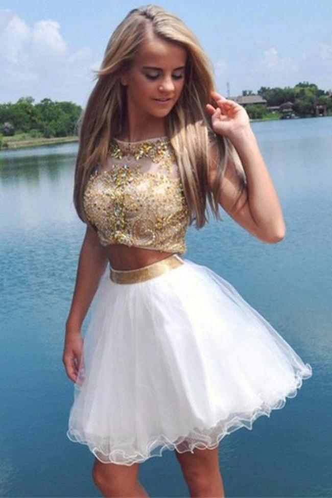 Two Piece Cap Sleeves Tulle Crystals Homecoming Dresses, Short Prom Dress, MH198