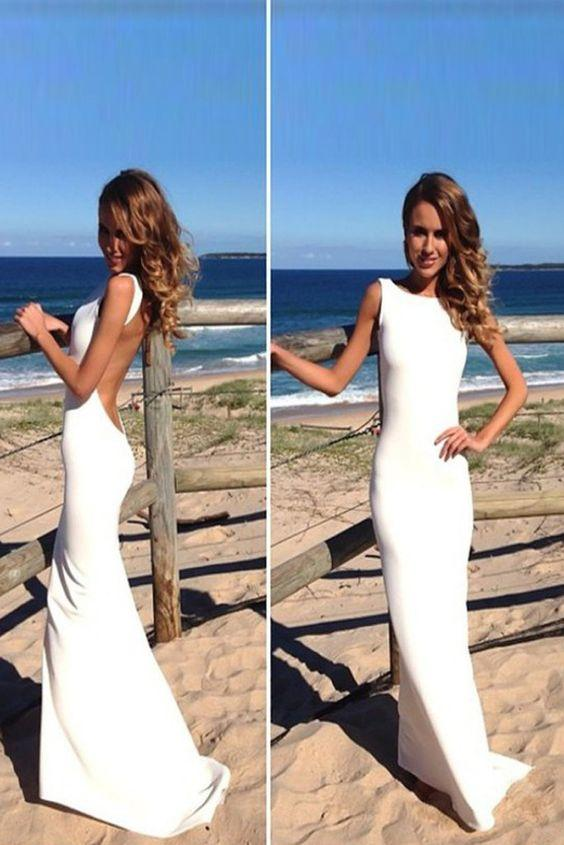 Simple White Sheath Sleeveless Backless Floor Length Beach Wedding Dresses, MW215