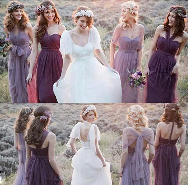 Cheap Tulle A-line Charming Bridesmaid Dresses,Long Wedding Party Dresses, MB119