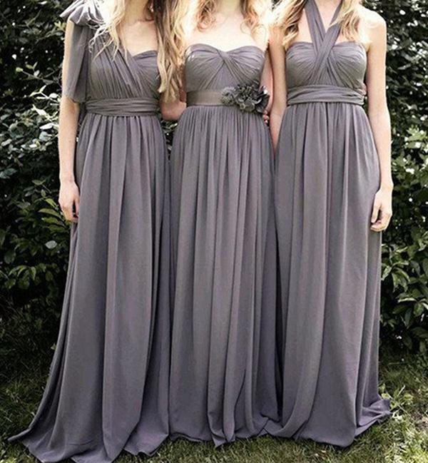 Gray Chiffon A Line Convertible Long Bridesmaid Dresses for Wedding Party, MB154|musebridals.com