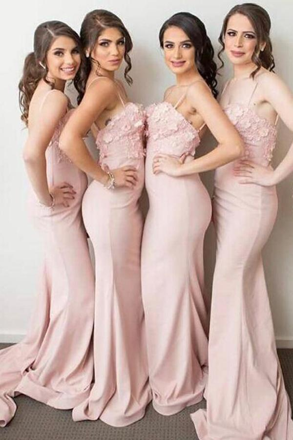 Light Pink Mermaid Spaghetti Straps Sweetheart Bridesmaid Dresses with Appliques, MB170