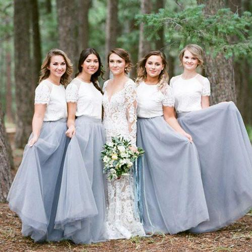 Light Grey Tulle Skirt White Top Short Sleeve Long Bridesmaid Dresses, MB169|musebridals.com