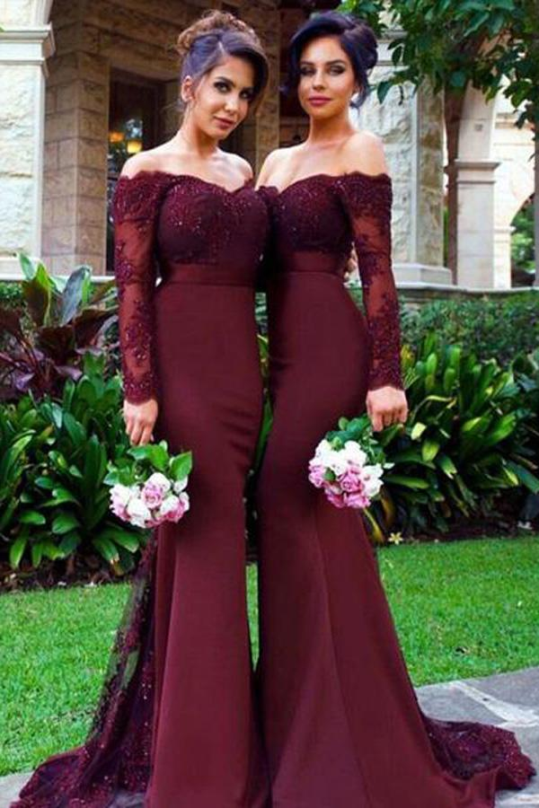 Burgundy Long Sleeve Lace Mermaid Bridesmaid Dresses with Small Train, MB112