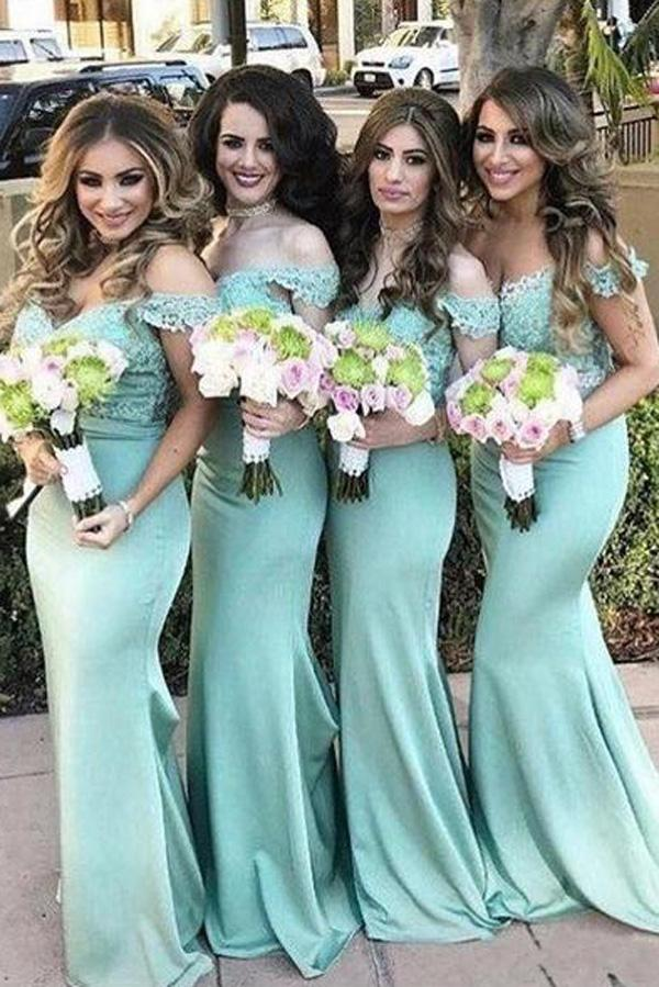 Charming Lace top Mermaid Off Shoulder Bridesmaid Dresses Wedding Guest Dress, MB116