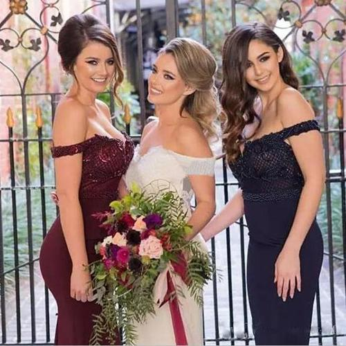 Burgundy Pink Navy Stunning Mermaid Off Shoulder Bridesmaid Dresses with Train, MB114