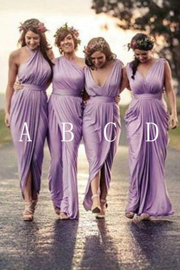 Lilac Mismatched Pleating Floor Length Different Styles Long Bridesmaid Dresses, MB172