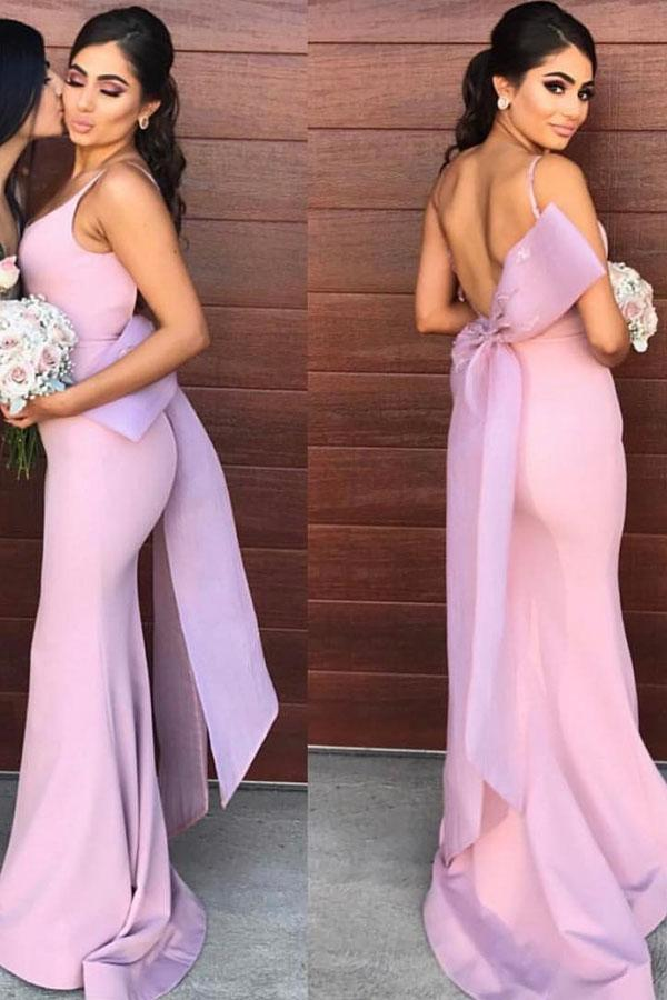 Lilac Satin Mermaid Open Back Long Bridesmaid Dresses With Bowtie, MB174