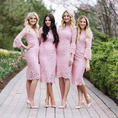 Fashion Pink Sheath Jewel Lace Knee Length Long Sleeve Bridesmaid Dresses, MB189|musebridals.com
