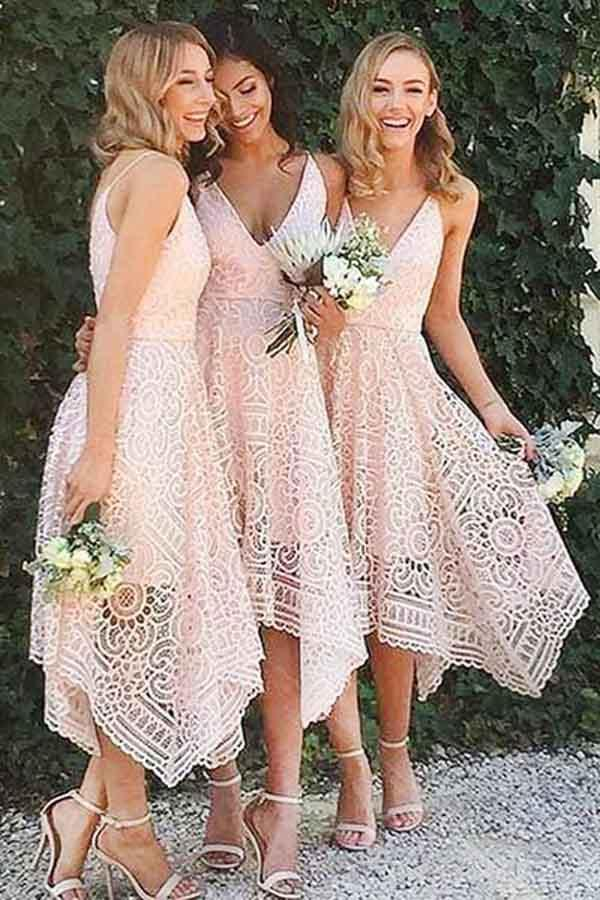 Pink/Navy Blue Spaghetti Straps Lace V-neck A-line Bridesmaid Dresses, Homecoming Dress, MB183
