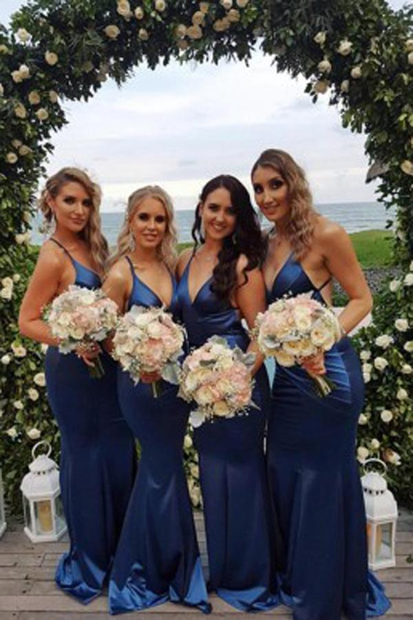 Fabulous Blue Mermaid Spaghetti Strap Bridesmaid Dress, Wedding Party Dresses, MB156