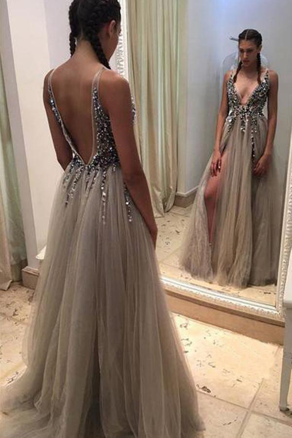 Grey Deep V-neck Backless Split Beaded Prom Dress with Sweep Train, MP248|musebridals.com