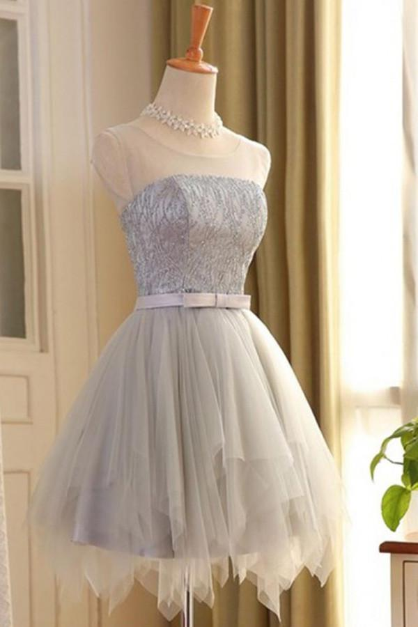 Gray Tulle Sleeveless A-line Scoop Short Prom Dress with Lace,Homecoming Dresses, MH106