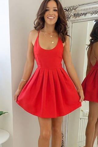 Simple Red Satin Open Back Homecoming Dresses, Short Prom Dresses, MH323