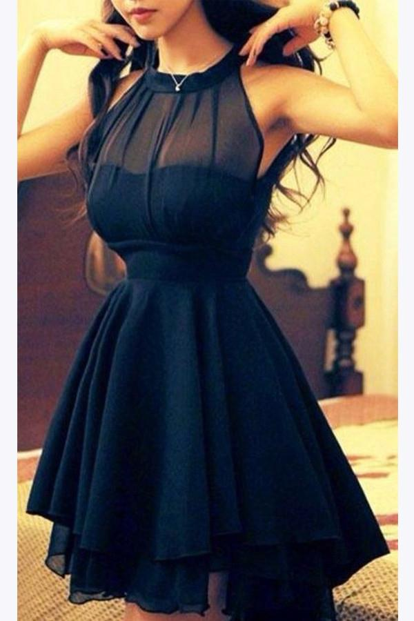 Chiffon Navy Blue Short Prom Dresses For Girls, Halter Homecoming Dress, MH179