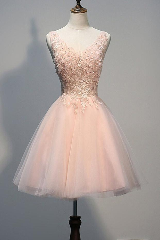 Pink Tulle Short Open Back Homecoming Dresses with Pearl Appliques, MH271