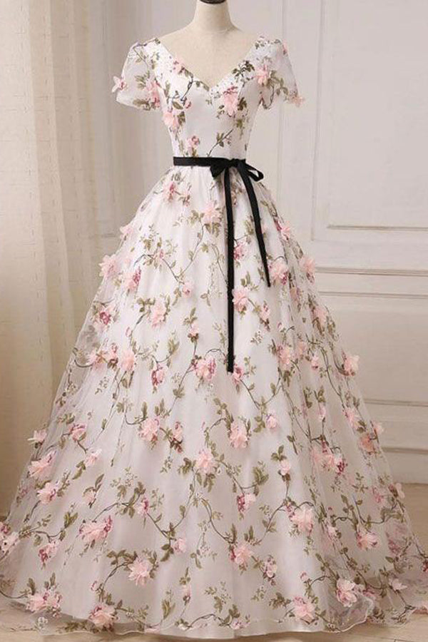 V-neck Floor-length Floral Long Lace Ball Gown Prom Dress,MP433