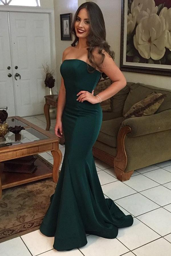 Green Mermaid Strapless Off Shoulder Simple Cheap Long Prom Dresses, MP244