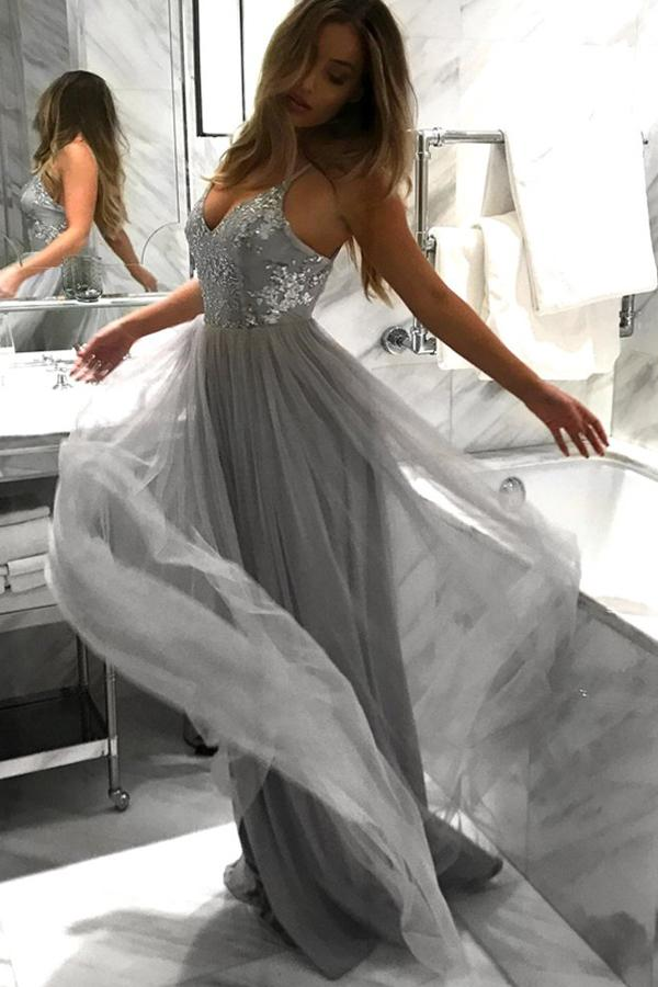 Light Grey A-line Backless Spaghetti Straps Lace Tulle Long Prom Dresses, MP269