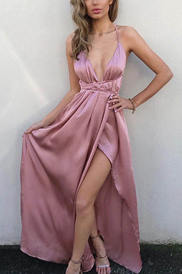 Simple Pink A-line V Neck Spaghetti Straps Side Slit Long Prom Dresses, MP401