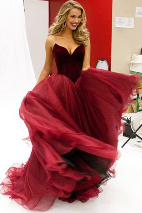 Burgundy Sweetheart Floor-Length Tulle A-Line V-Neck Prom Dresses, MP396