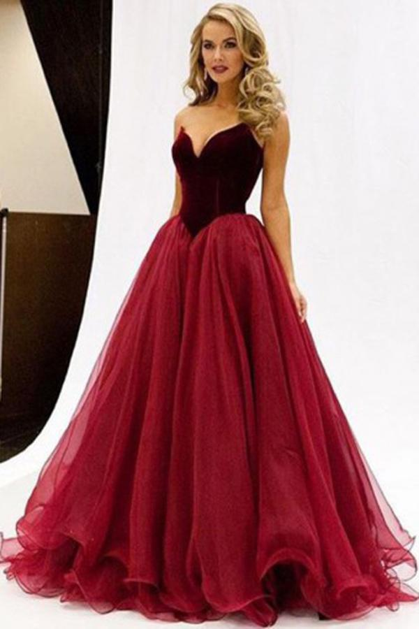 Burgundy Sweetheart Floor-Length Tulle A-Line V-Neck Prom Dresses, MP396|musebridals.com
