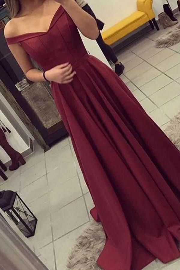 Burgundy Cap Sleeves A Line Long Prom Dresses, Cheap Party Dress, MP139