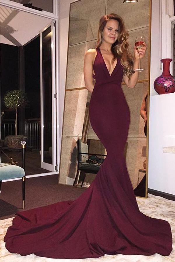 Burgundy Mermaid V-Neck Sleeveless Long Prom Dresses With Criss Cross, MP293